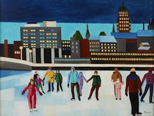 Artwork by Claude Picher, Les patineurs sur la rivière St-Charles