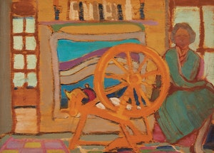 Artwork by Anne Douglas Savage, At the Spinning Wheel