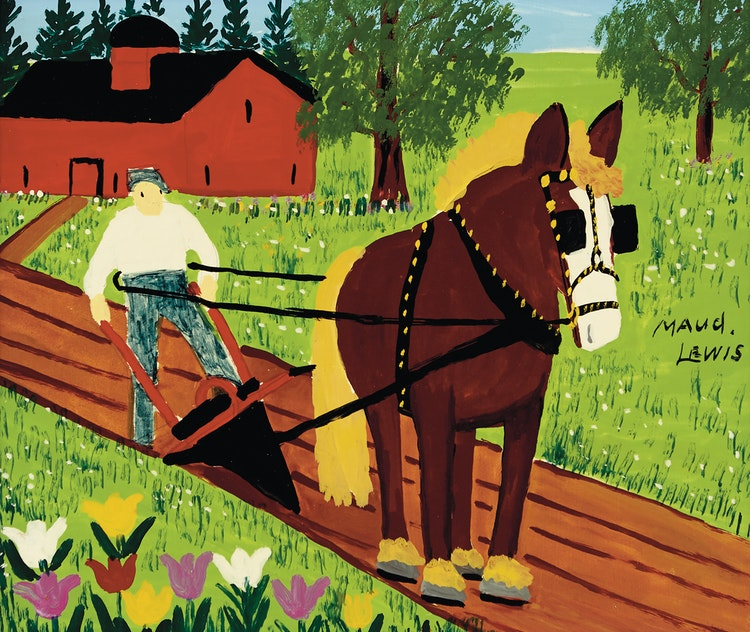 Artwork by Maud Lewis,  Horse and Farmer Ploughing
