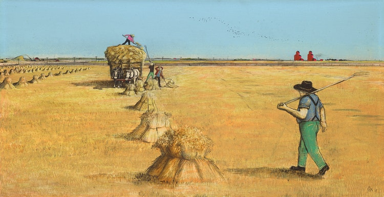 Artwork by William Kurelek,  Hauling Hay
