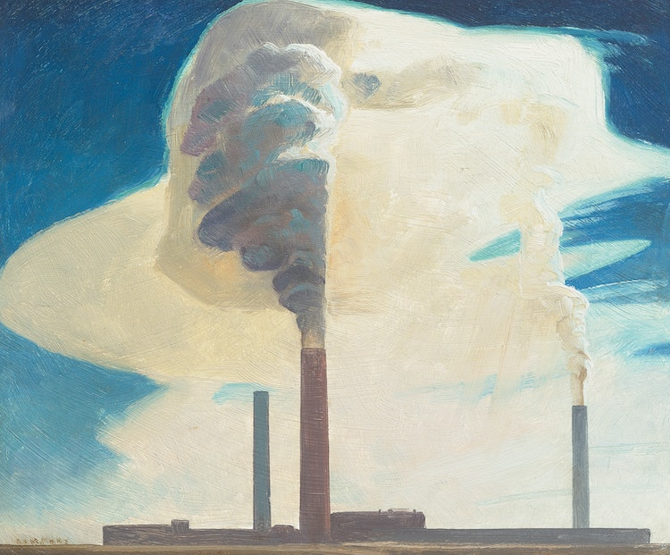 Artwork by Charles Fraser Comfort,  Smokestacks, Copper Cliff