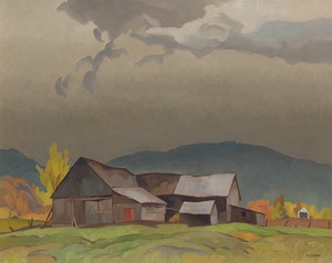 Artwork by Alfred Joseph Casson, Barns at Grenville, Quebec