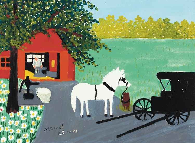 Artwork by Maud Lewis,  The Blacksmith Shop