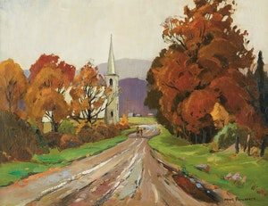 Artwork by Frank Shirley Panabaker, Road into the Village