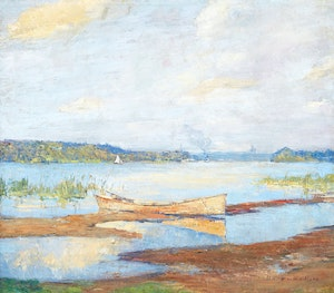 Artwork by Frederick William Hutchison, Lake of Two Mountains