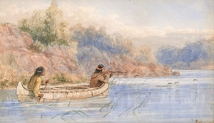Artwork by Frederick Arthur Verner, Hunting by Canoe