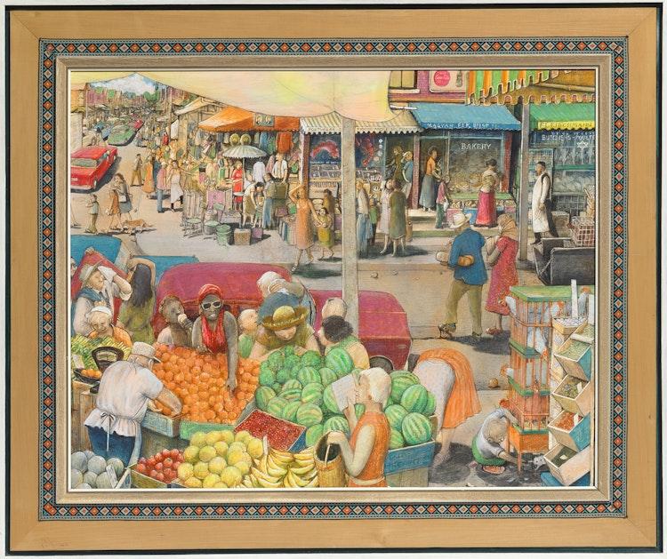 Artwork by William Kurelek,  Hot Day in Kensington Market