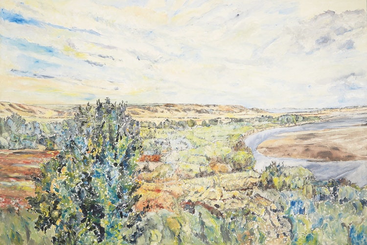 Artwork by Dorothy Elsie Knowles,  The River with Hills