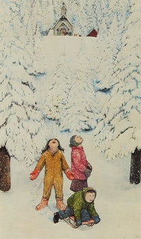 Artwork by William Kurelek, Excitement of First Heavy Snow