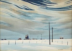Artwork by Robert N. Hurley, Prairies in Winter