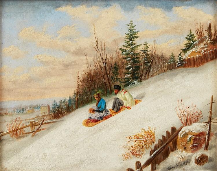 Artwork by G.H. Hughes,  Tobogganing Scene