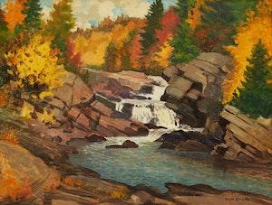 Artwork by Thomas Albert Stone, Hog Through Falls, Oxtongue River