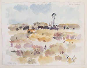 Artwork by Reta Madeline Cowley, Cattle and Windmill