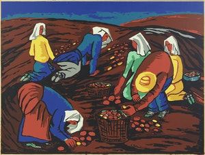 Artwork by Fritz Brandtner, Potato Pickers