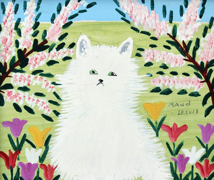 Artwork by Maud Lewis,  The White Cat
