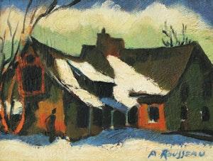 Artwork by Albert Rousseau, Winter Village Scene