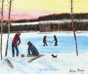 Artwork by Allen Sapp, Hockey on the Lake