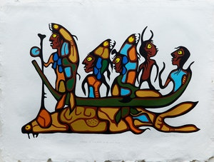 Artwork by Norval Morrisseau, The Legend of the Fish People at the Great Flood