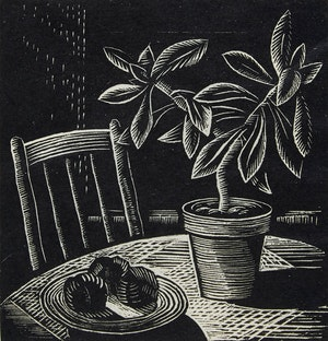 Artwork by Carl Fellman Schaefer, Rubber Plant