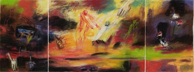 Artwork by John Hartman,  Study For Apotheosis of Gilbert Desrochers