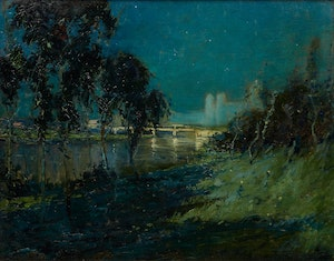 Artwork by Arthur Dominique Rozaire, Twilight Landscape