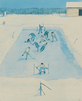 Artwork by William Kurelek, Hockey Game