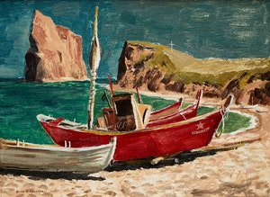 Artwork by Alan Caswell Collier, North Beach, Percé, Que