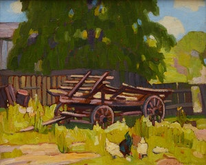 Artwork by Peter Clapham Sheppard, Cart with Chickens