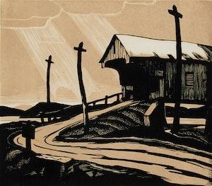 Artwork by Leonard Hutchinson, Covered Bridge, Montrose