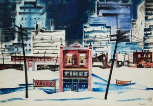 Artwork by Sydney Hollinger Watson, Winter in the City