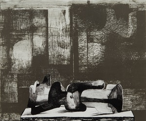 Artwork by Henry Moore, Reclining Figure Architectural Background iv