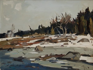 Artwork by George Lorne Holland Bouchard, Spring Pond, Country of Two Mountains, Prov. of Quebec