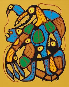Artwork by Norval Morrisseau, Metamorphosis- Man into Thunderbird