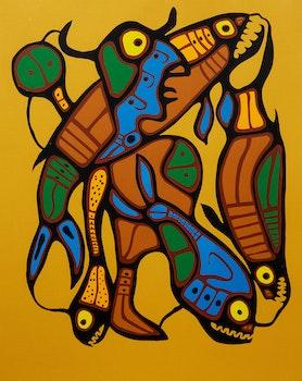 Artwork by Norval Morrisseau, Metamorphosis- Man into Fish