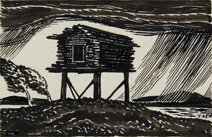 """Artwork by Thoreau MacDonald, Cottage; Summer; A Dream (from """"Mountain Cloud"""")"""