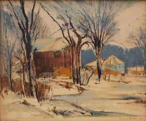 Artwork by Frank Leonard Brooks, Winter Farm