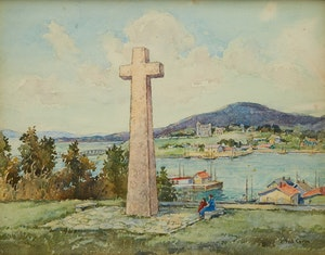 Artwork by Paul Archibald Caron, Quebec City view from Lévis