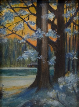 Artwork by Elizabeth Annie McGillivray Knowles, Cabin at Sunset