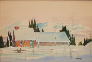 Artwork by Graham Noble Norwell, Winter Cottage