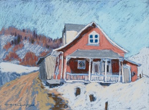 Artwork by Horace Champagne, Pink + Blue, St. Joachim, Québec