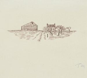 Artwork by Thoreau MacDonald, Farm Landscape