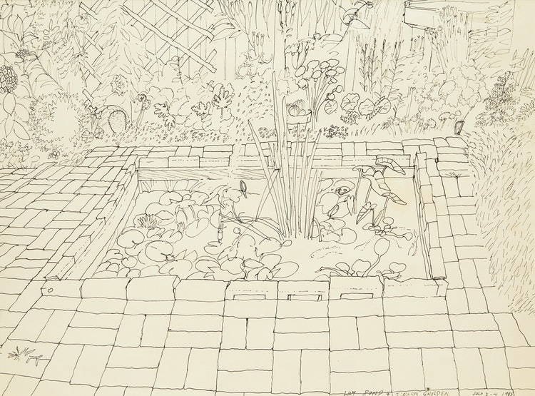 Artwork by Gregory Richard Curnoe,  Lily Pond and Flower Garden (1985)