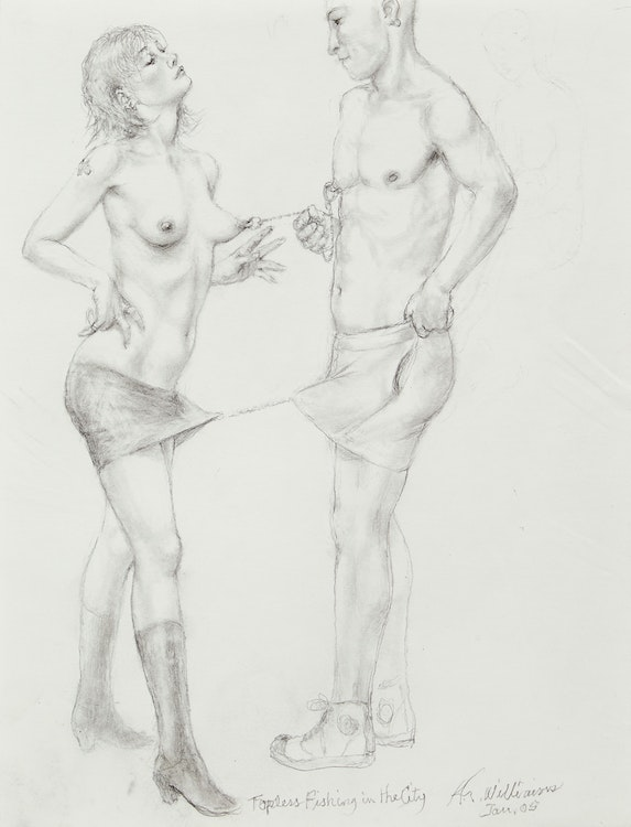 Artwork by Richard Williams,  Topless Fishing in the City (Naked Block Party series)