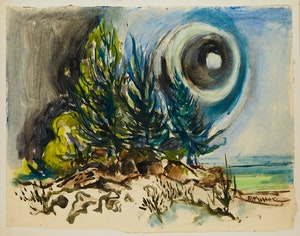 Artwork by Alexander Samuel Millar, Abstract Landscape with Pines; Coastal Landscape with Pines; Coastal Landscape with Storm Clouds