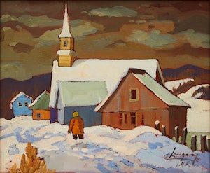 Artwork by Claude Langevin, Winter Village Scene