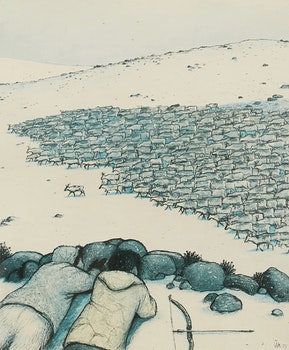Artwork by William Kurelek, Stalking Migrating Caribou