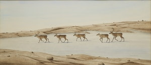Artwork by Michael French, Caribou Crossing Ice in the Fall