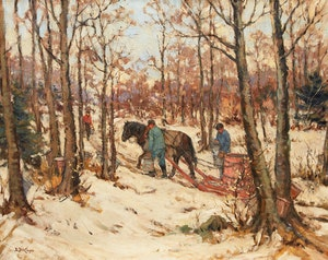 Artwork by Berthe Des Clayes, Collecting Sap in the Sugar Bush, Rougement