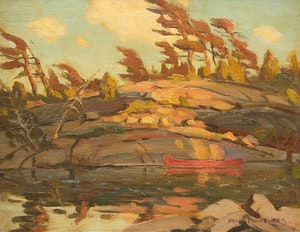 Artwork by Frank Shirley Panabaker, Landscape with Red Canoe
