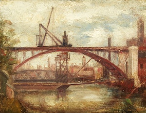 Artwork by Nicholas Hornyansky, Construction of the Bloor Street Viaduct, Toronto